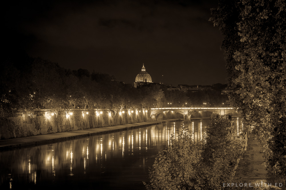 The river tiber looking towards Vatican City, Vintage style picture of Rome