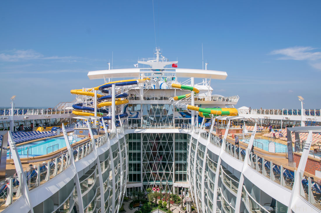 Harmony of the Seas pool deck, The perfect storm waterslides