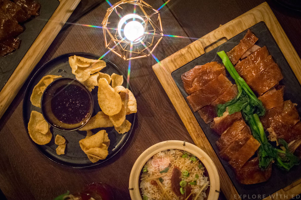 Over table picture of Asian Food at Cen