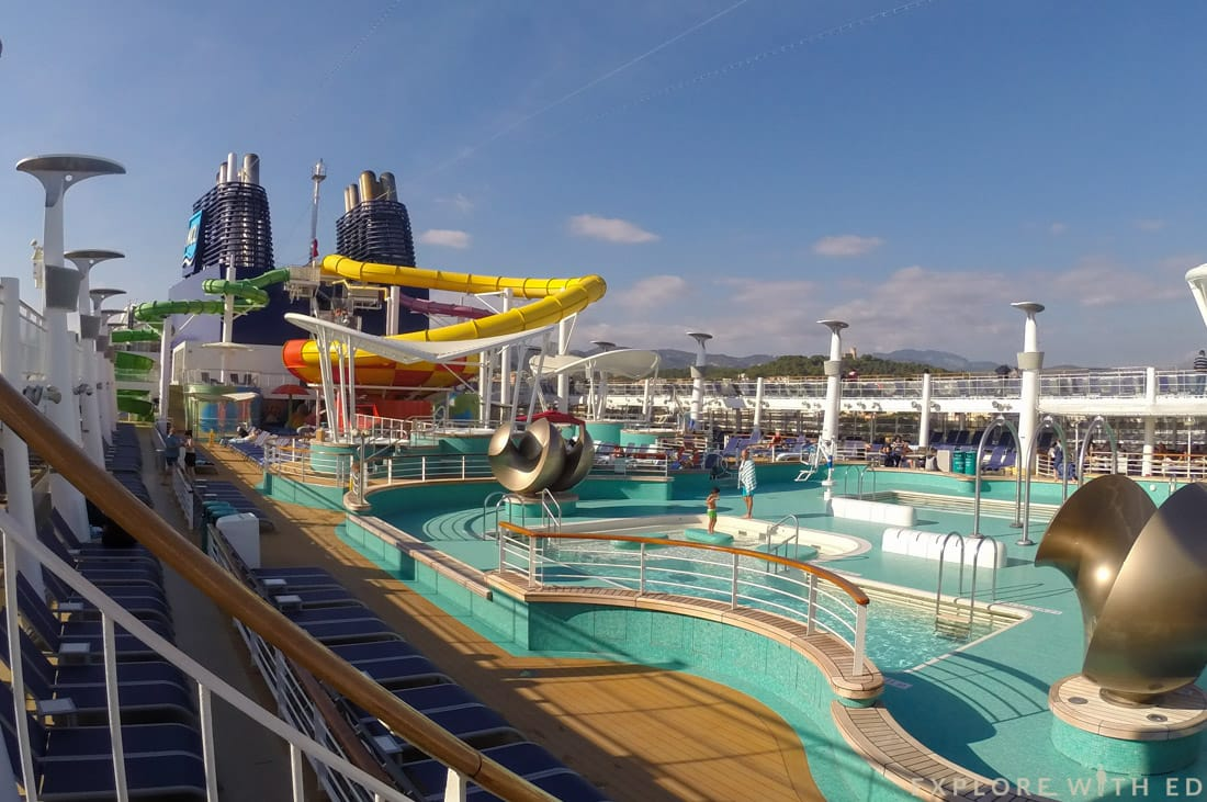 Pool area onboard Norwegian Epic, Water Slides