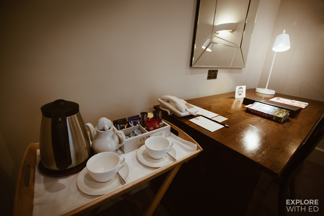 Tea tray, Room review of The Angel Hotel in Abergavenny
