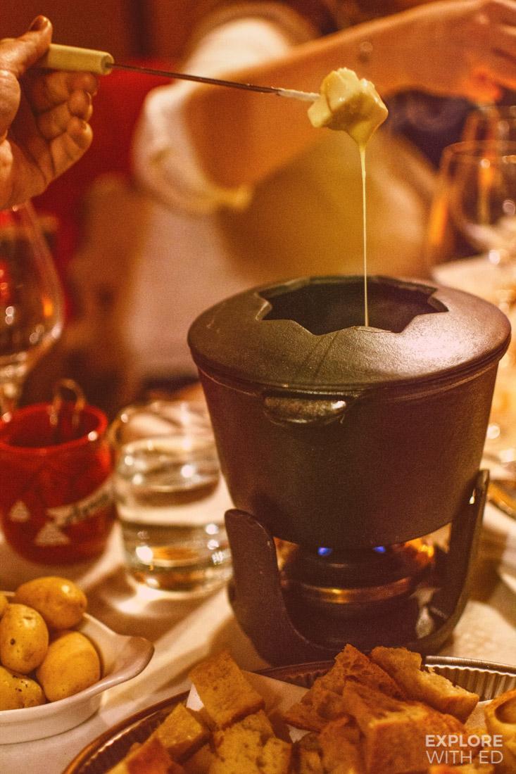 Cheese fondue with sourdough bread and potatoes, Apres Ski Bar Fondue Thursdays