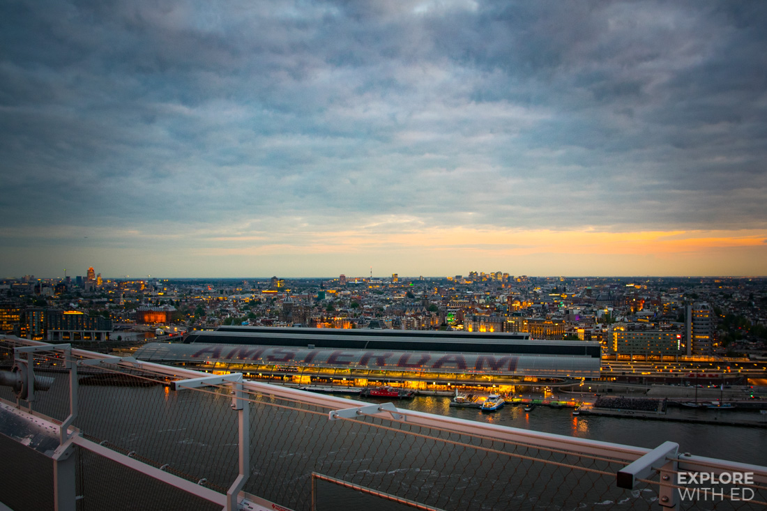 View over Amsterdam and Centraal Station from A'DAM Lookout at sunset
