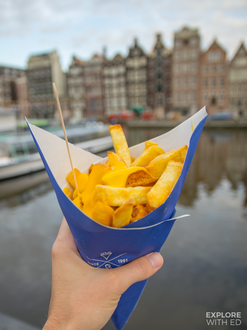 Manneken Pis fries on Damrak near Centraal Station, Holland's Number 1 Fries with Cheese Sauce