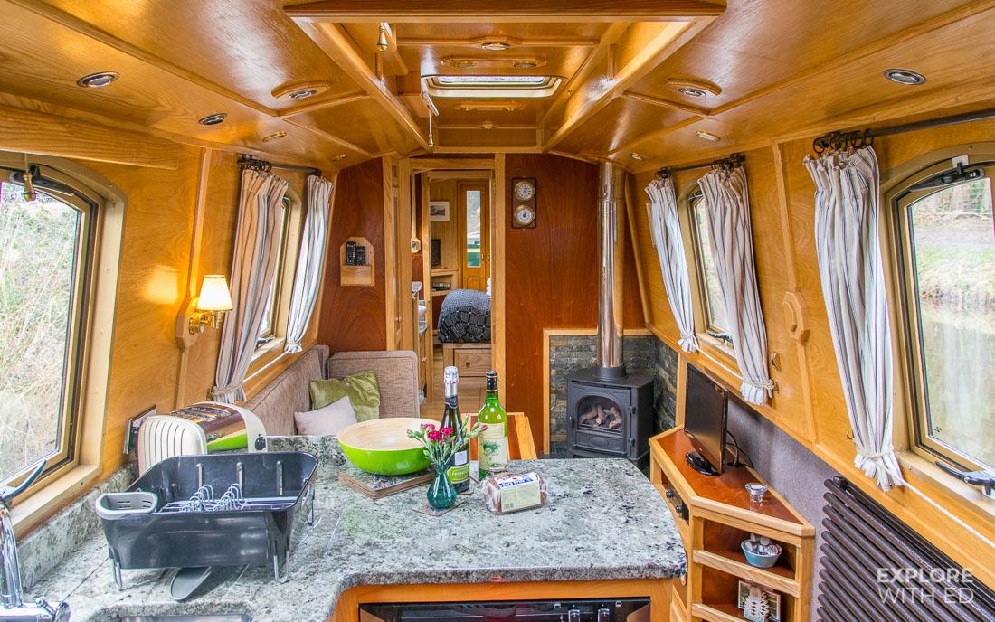 Inside a narrowboat, Beacon Park boat interior