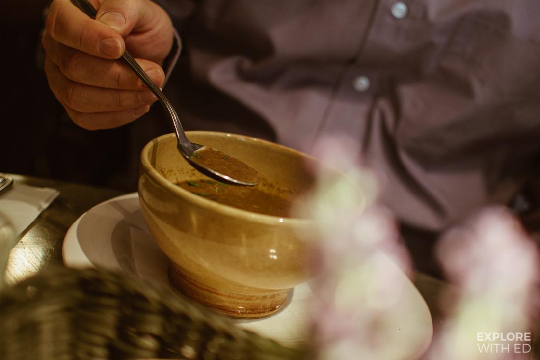 Mushroom soup, Soupe de Jour at Bistrot Pierre's