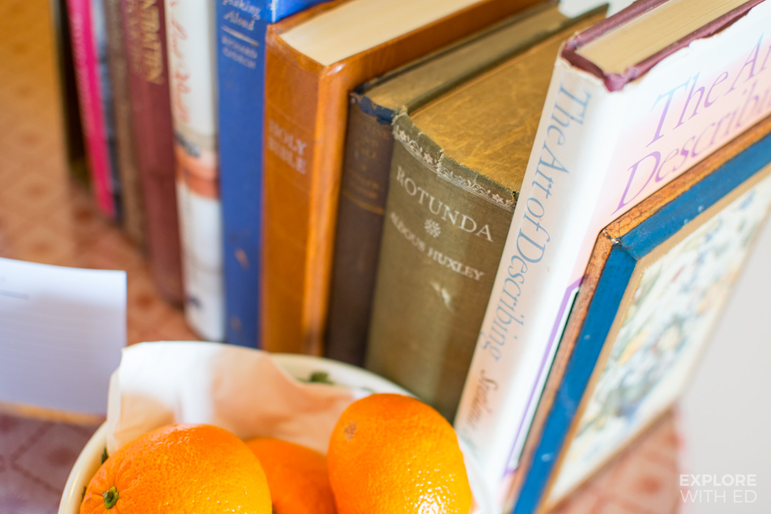Fresh fruit and old books