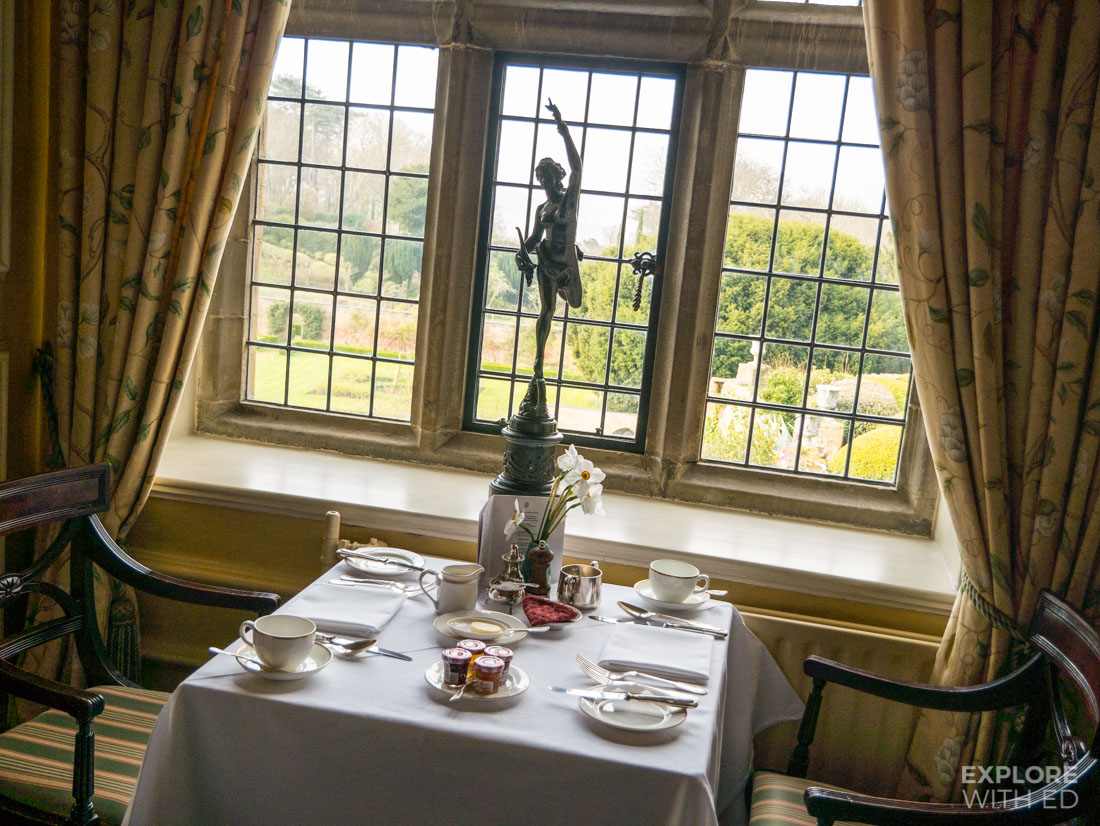 Breakfast at Bodysgallen Hall with view of gardens and Conwy Castle