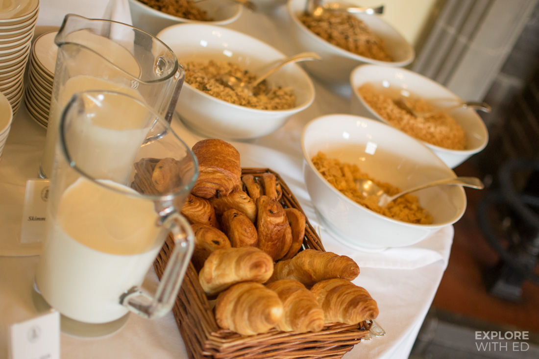 Self service Continental Breakfast Table at Bodysgallen Hall