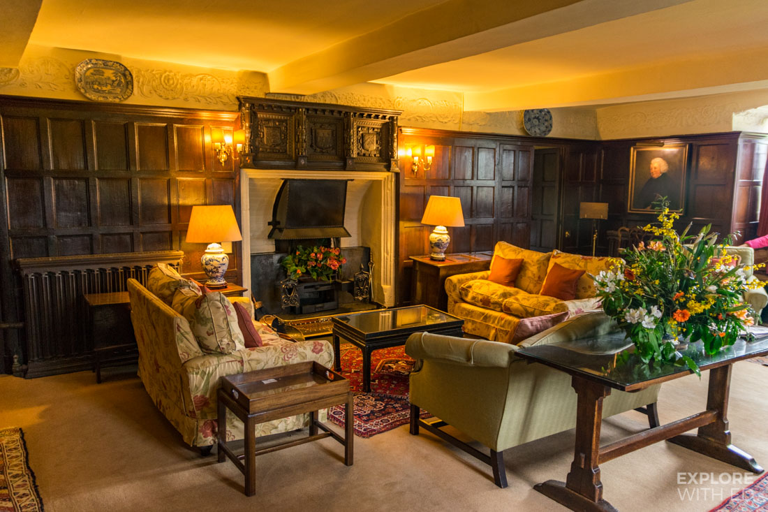 Bodysgallen Public Rooms with comfortable sofas and grand fireplace