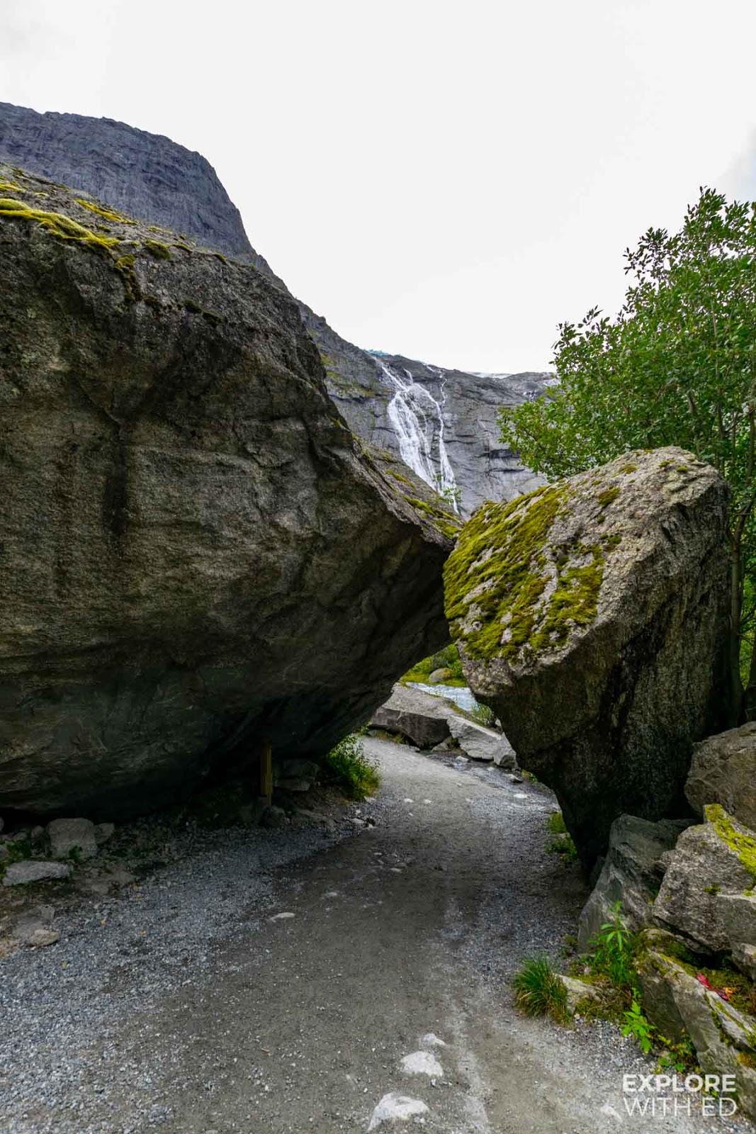 Rocky passage near Briksdal Glacier