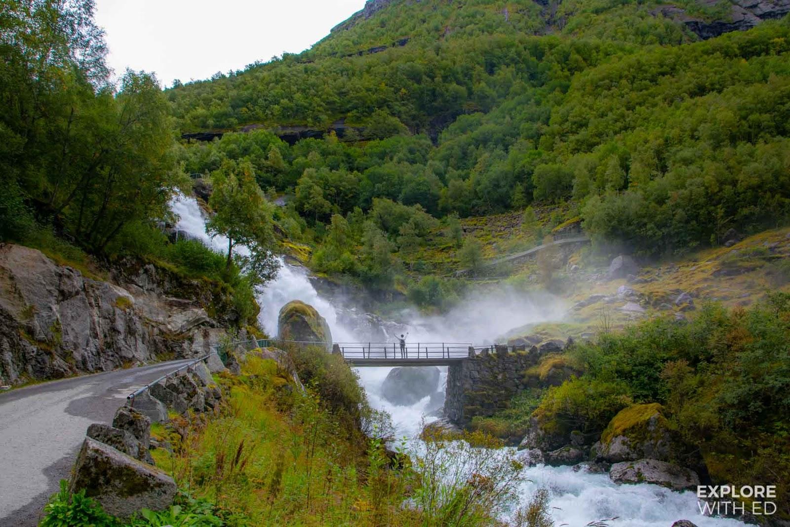 Waterfall bridge in Briksdal