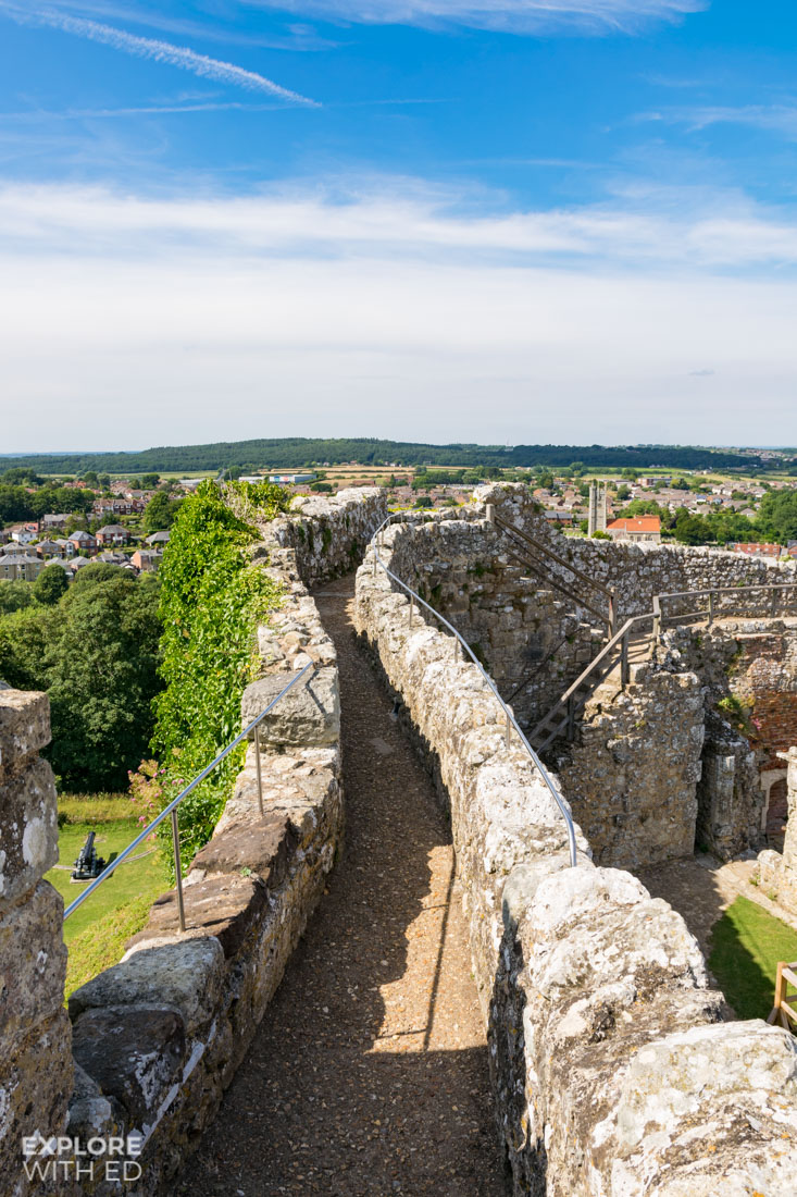 Walking along the rampart at Carisbrooke Castle