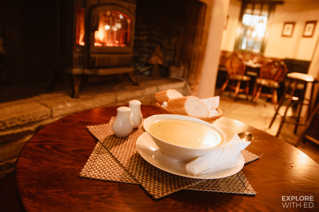 The White Hart pub in Castle Combe, Leek and potato soup