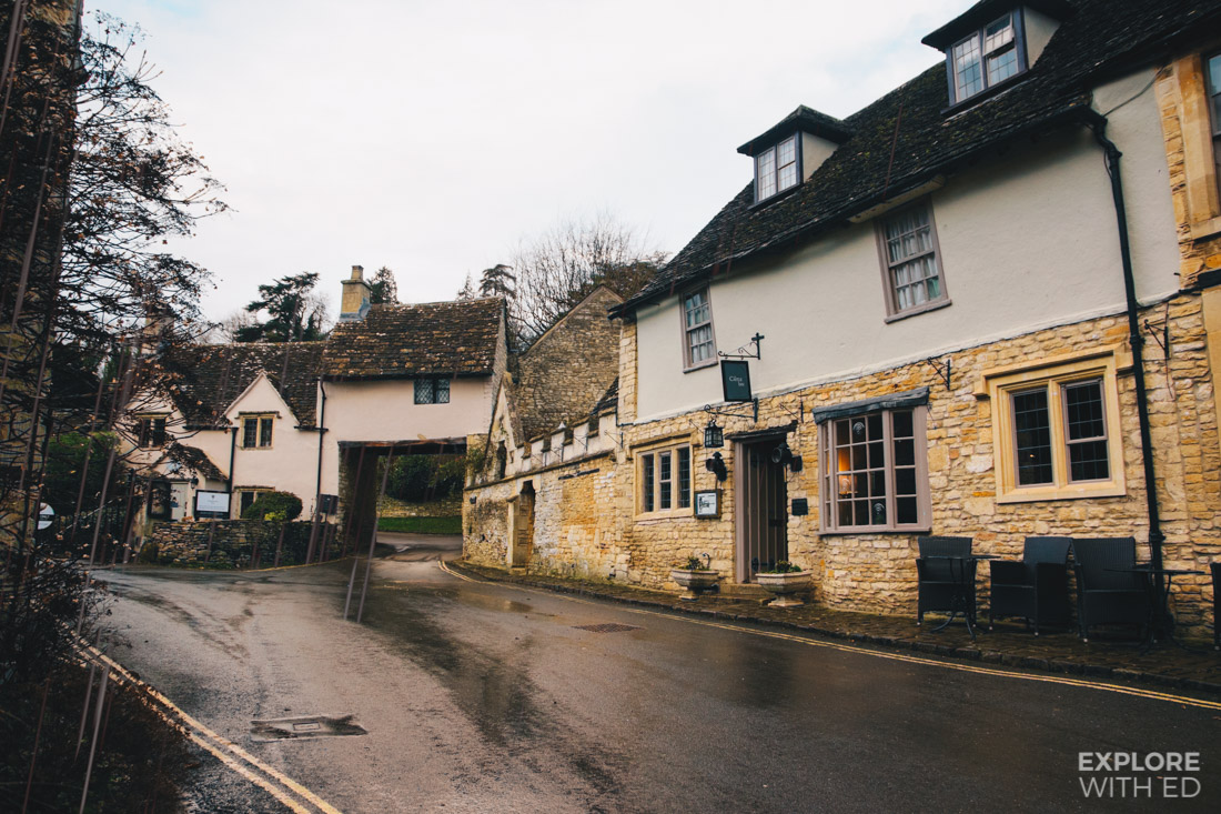 The Castle Inn Pub and Hotel in Castle Combe on rainy day