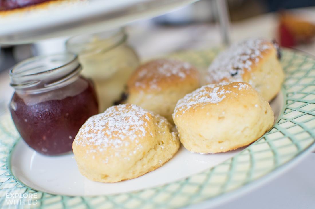 Vanilla and Raisin Scones with Clotted Cream and Jam
