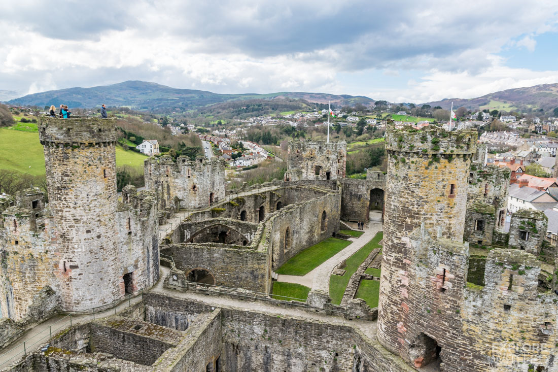 View across Conwy Castle remains