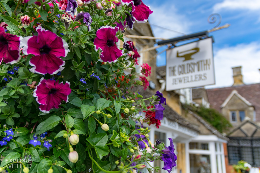 Beautiful flower displays and shops in Broadway
