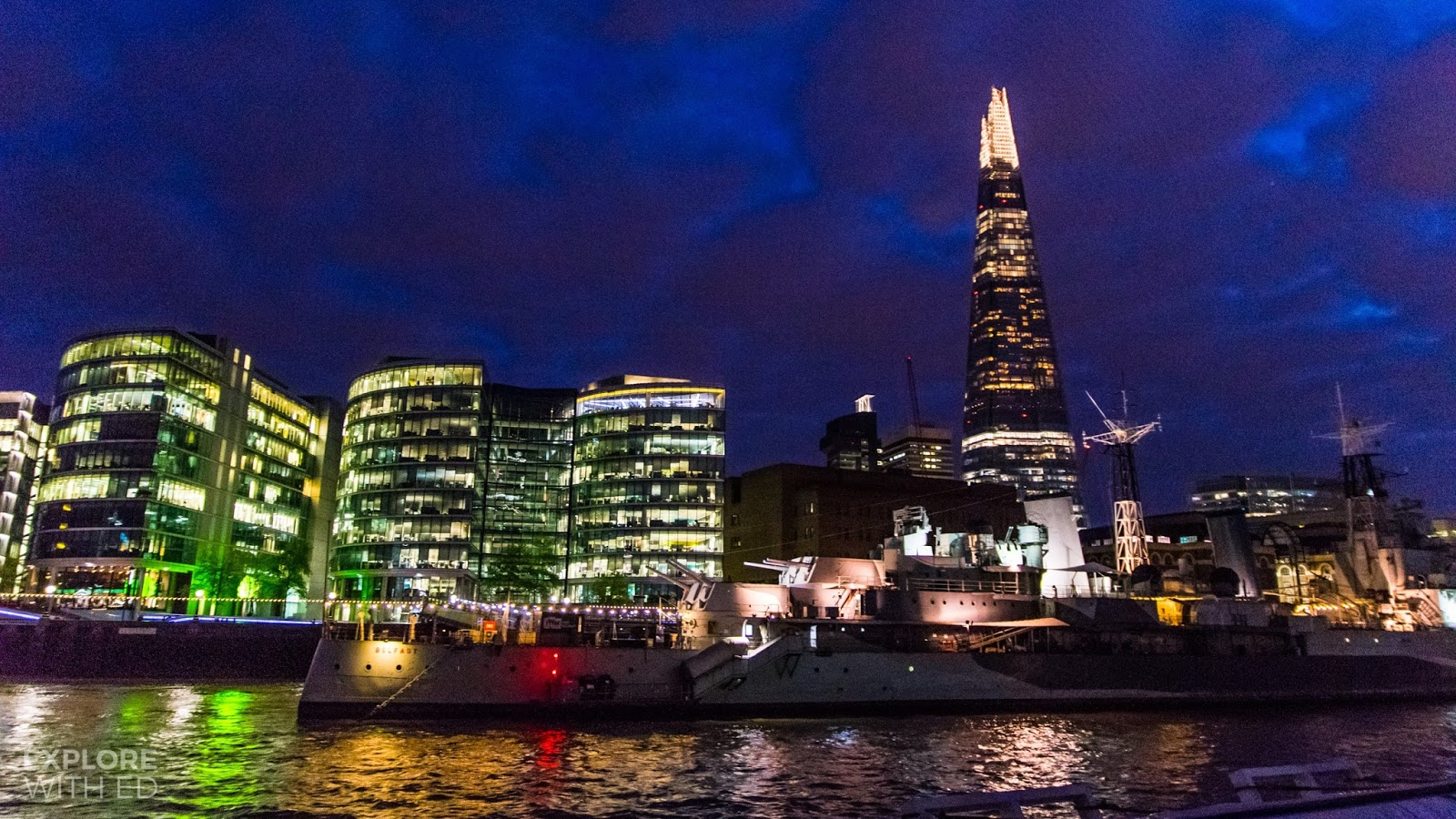 London city at night viewed from Thames City Cruise