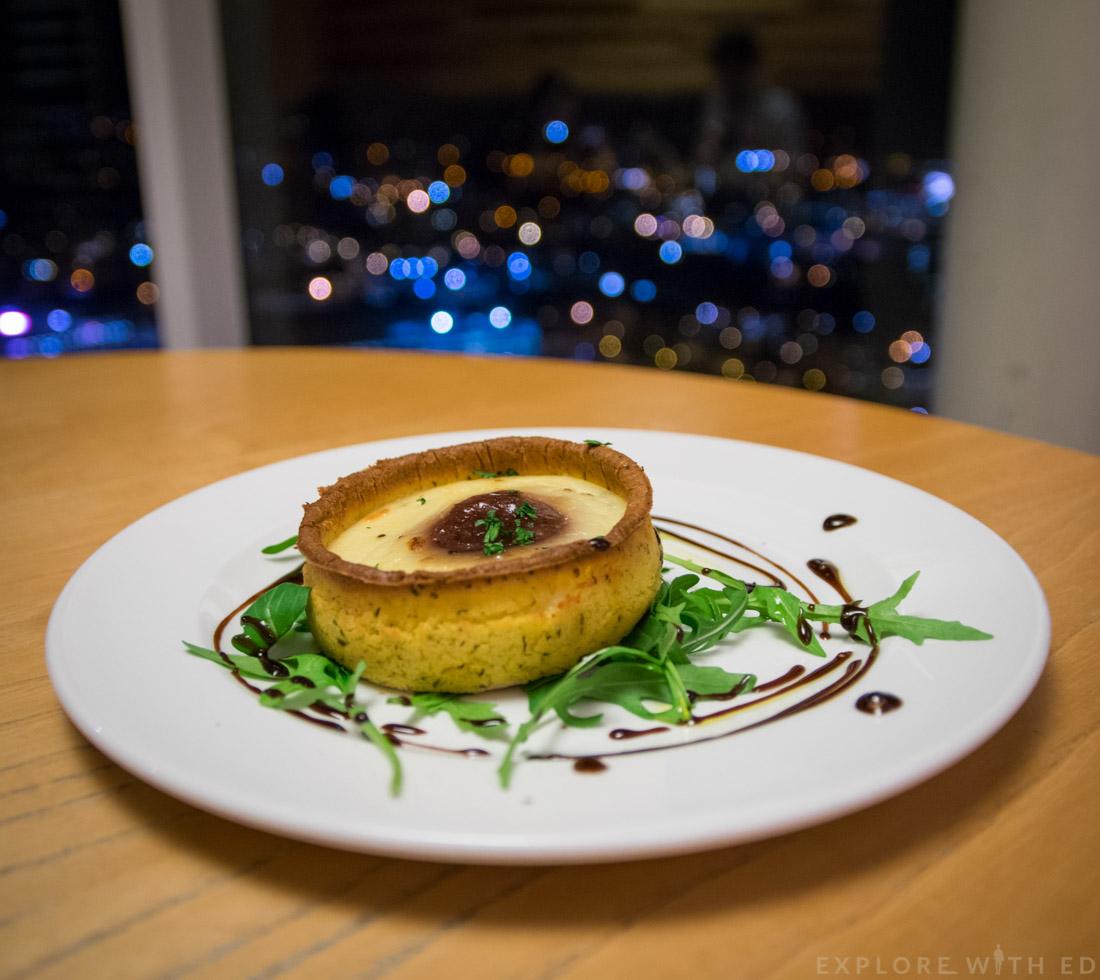 Grape & Olive Starter Menu Option, Smoked Cheese and Caramelised Onion Tart