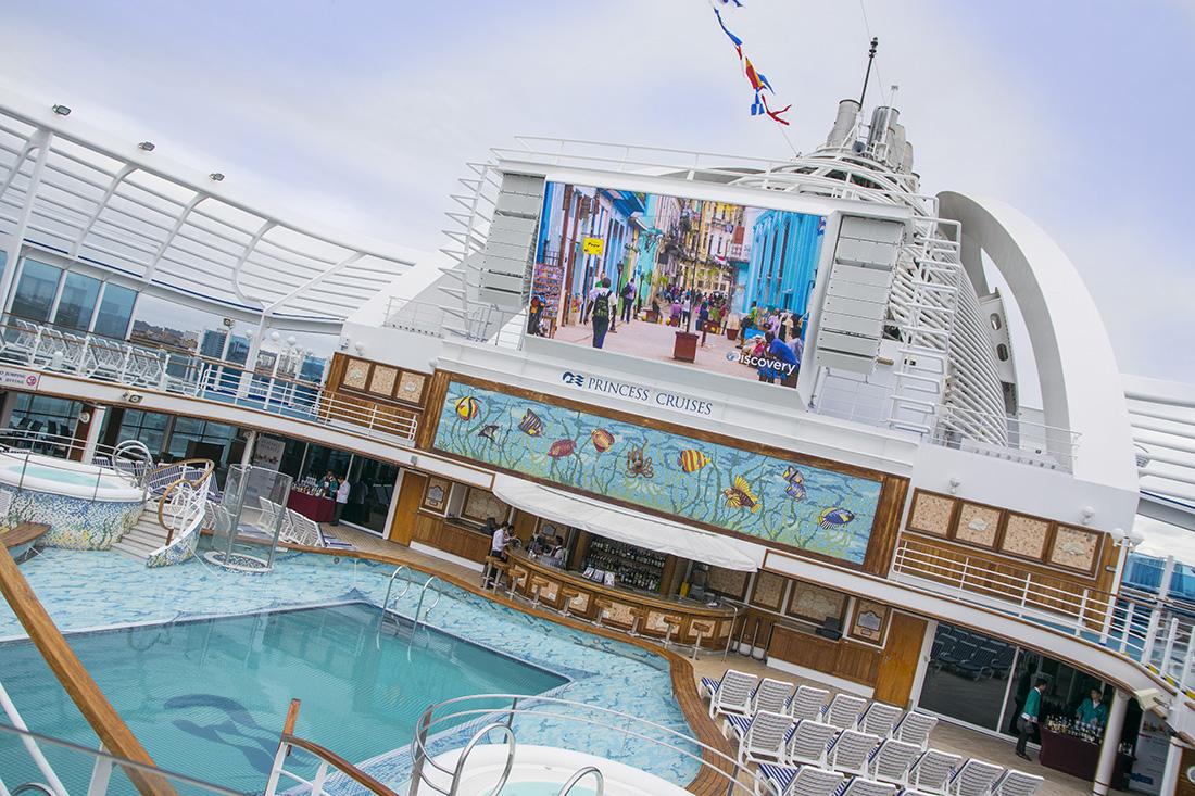 Princess Cruise main pool and bar area with cinema screen