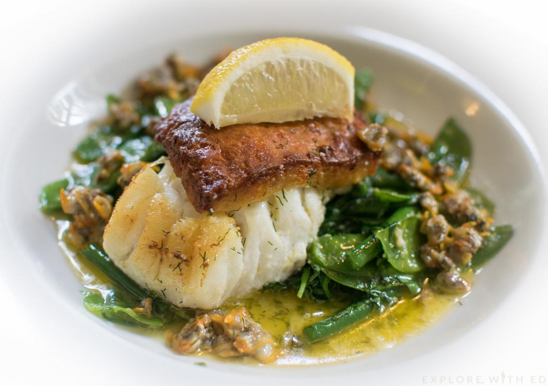 Cod with crispy ale rarebit and cockles, Seafood dish Swansea, King Arthur Hotel