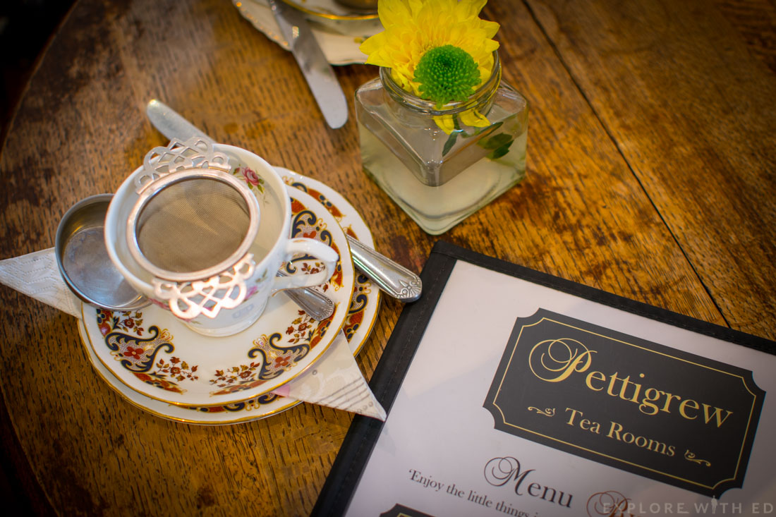 Pettigrew tea rooms tea cup and menu