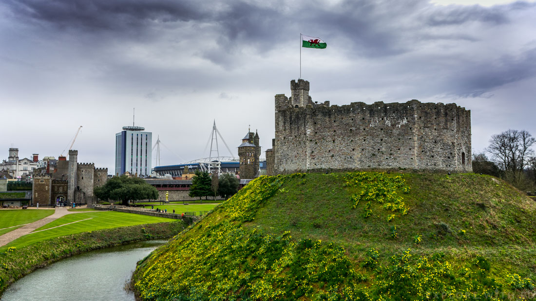 Cardiff Castle, norman keep and moat