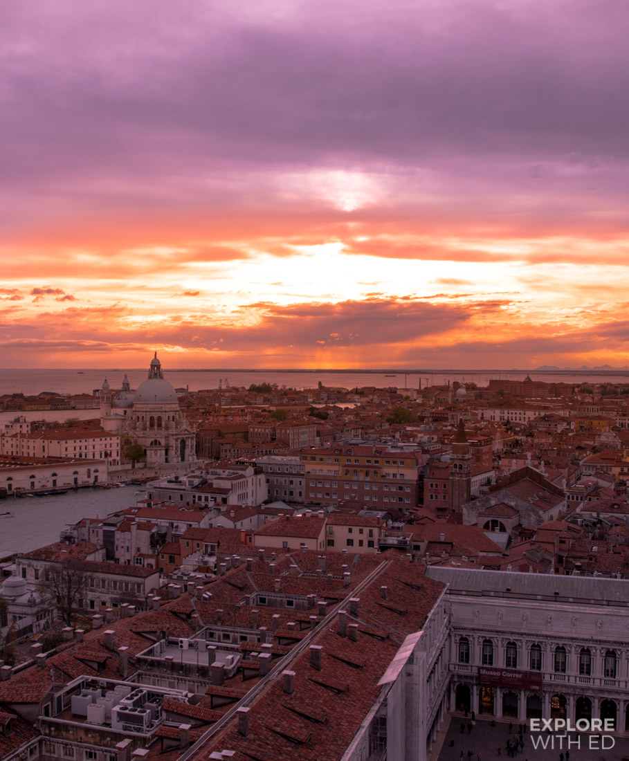 Sunset in Venice, the view from St Mark's Bell Tower