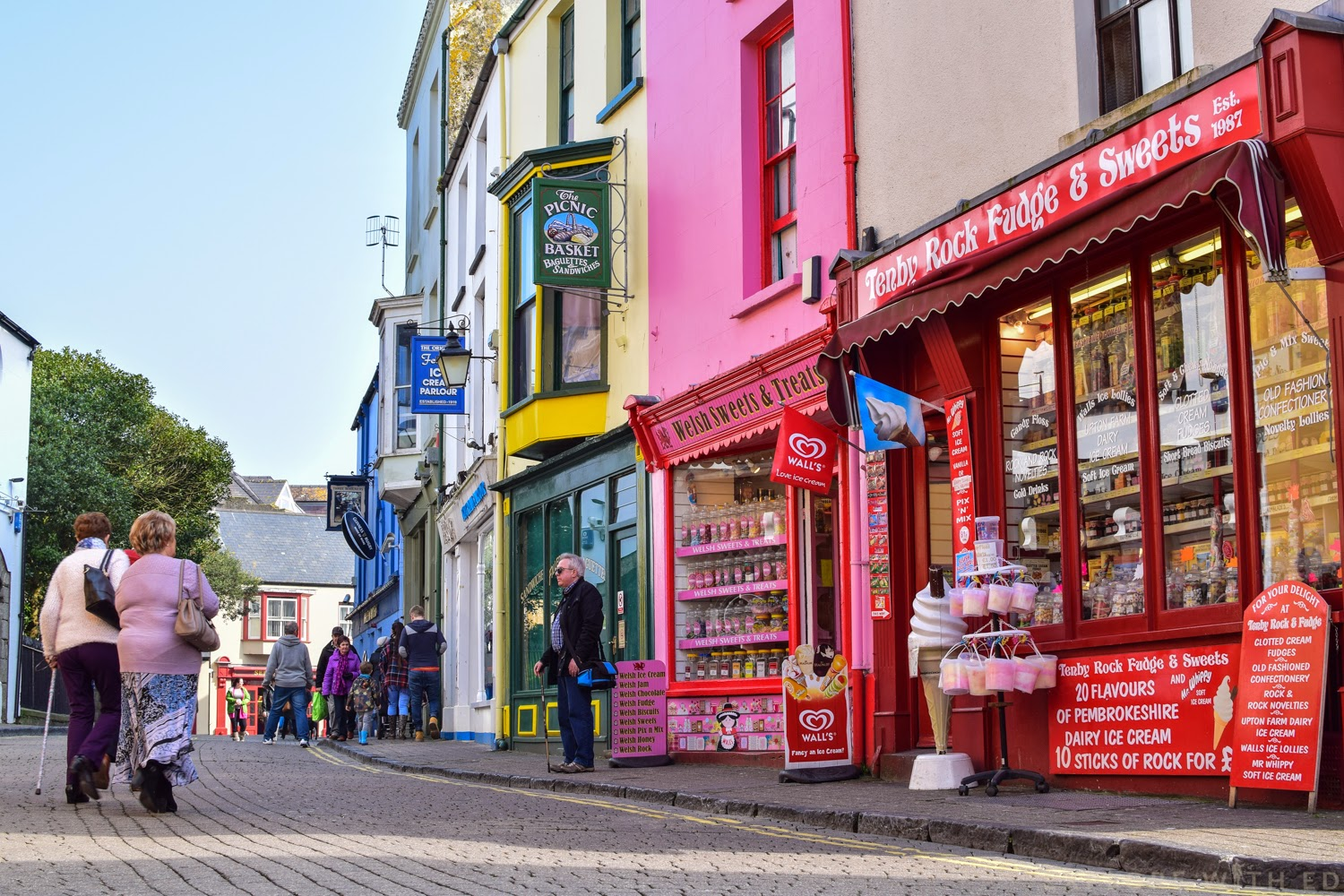 Tenby High Street with Ice-Cream Parlours and Sandwich Shops