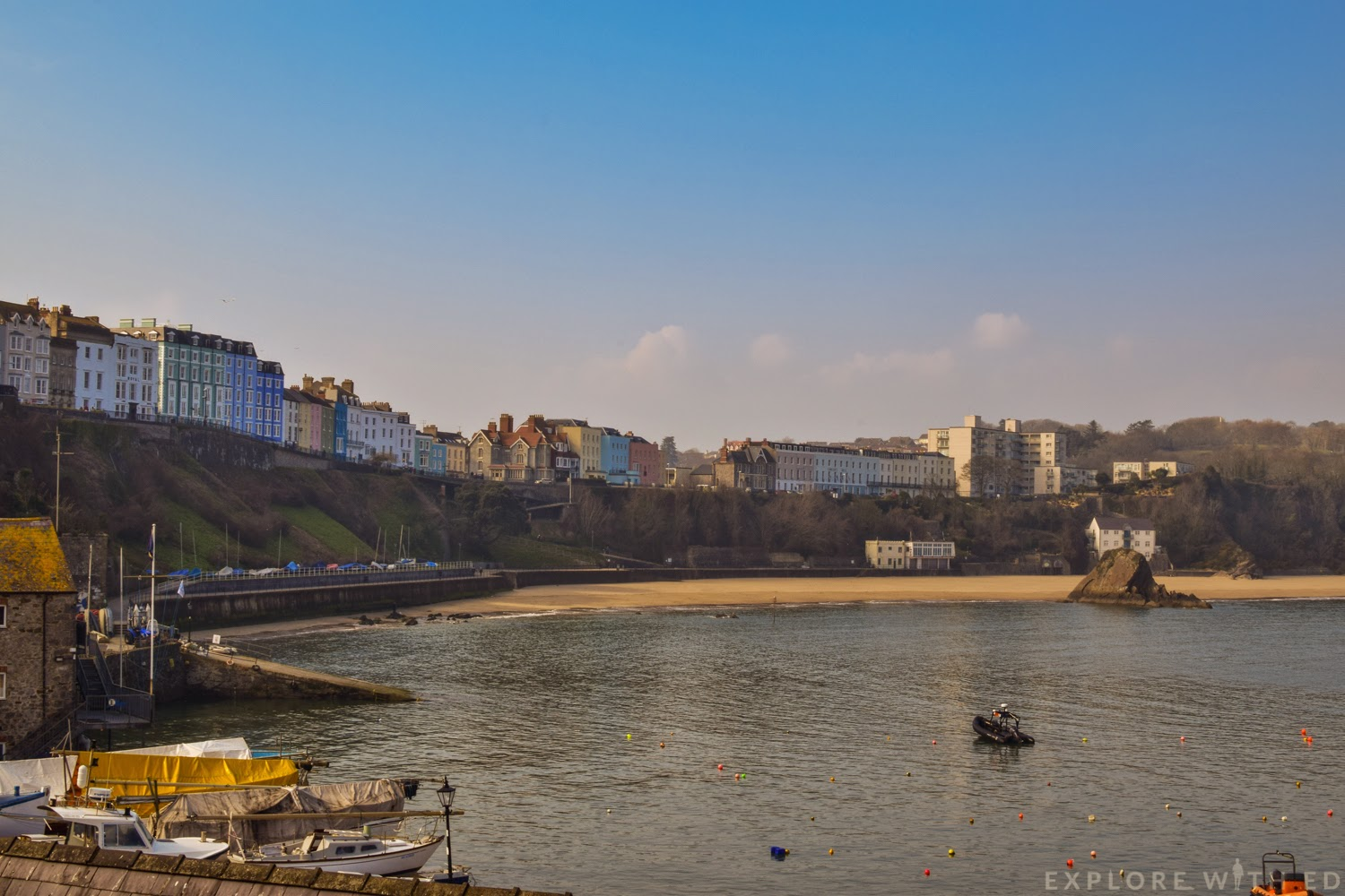 Colourful houses along Tenby Harbour