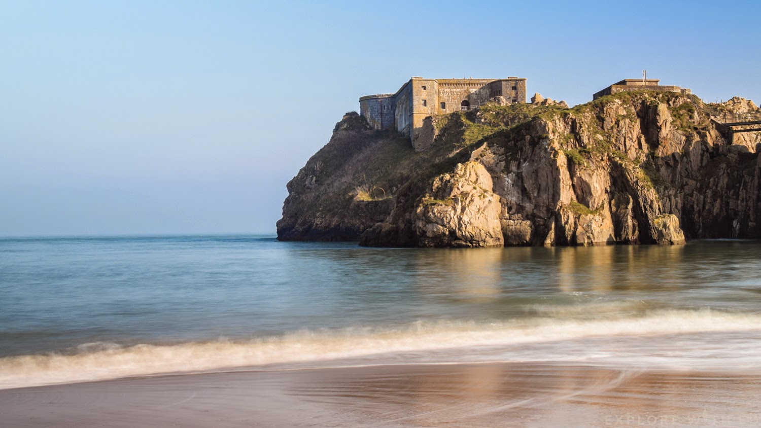 Tenby Castle Beach and the Fortress Remains on St Catherine's Island
