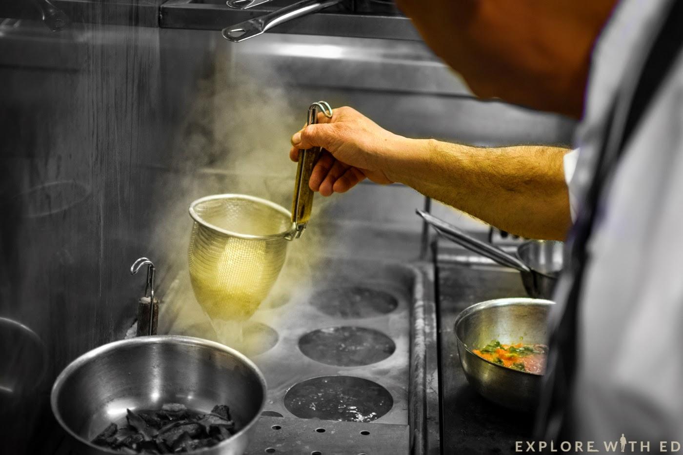 Boiling pasta Jamie's Italian