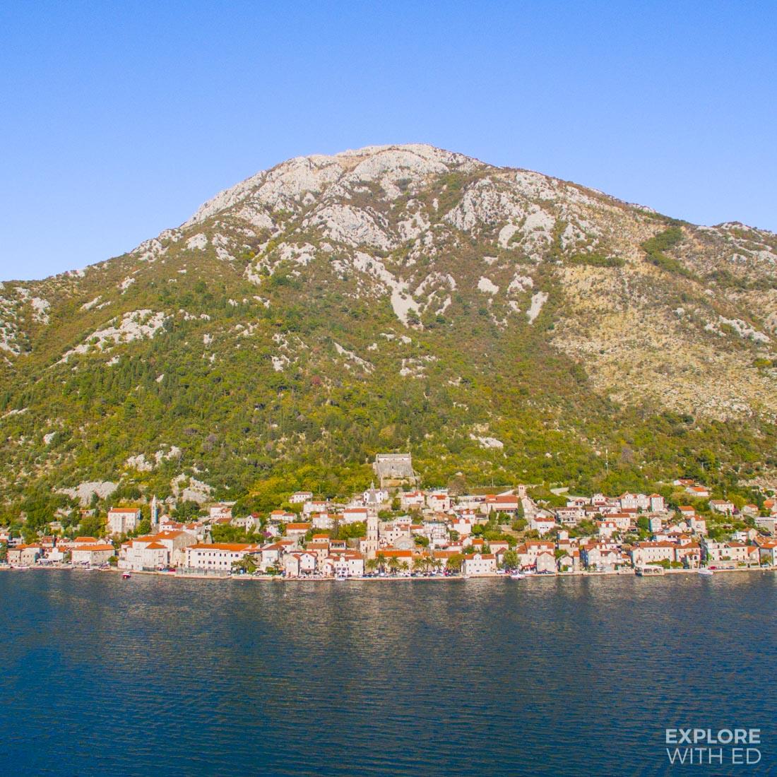 Sailaway through Kotor bay in Montenegro