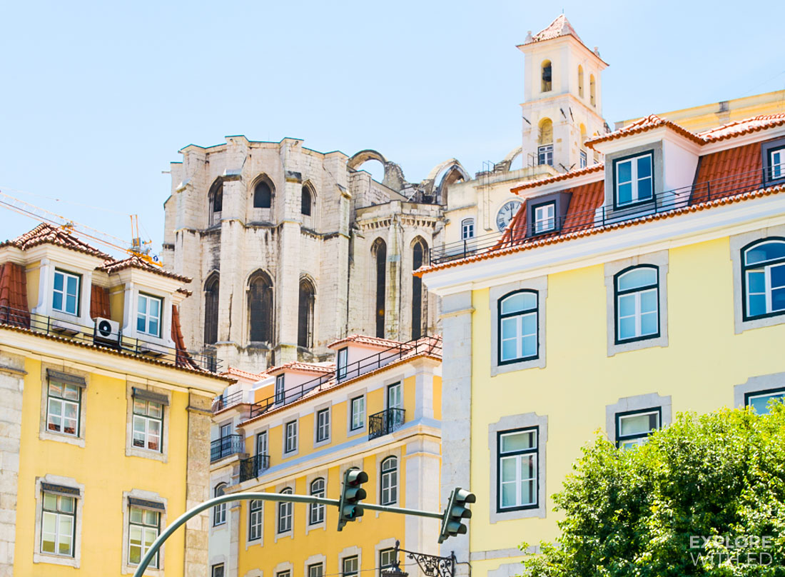Pretty yellow buildings in Lisbon, Portugal