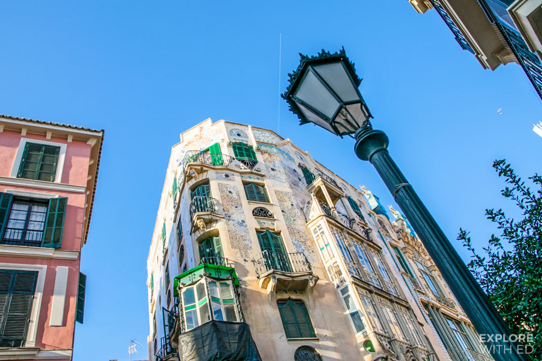 Gaudi inspired building in Palma de Mallorca Spain