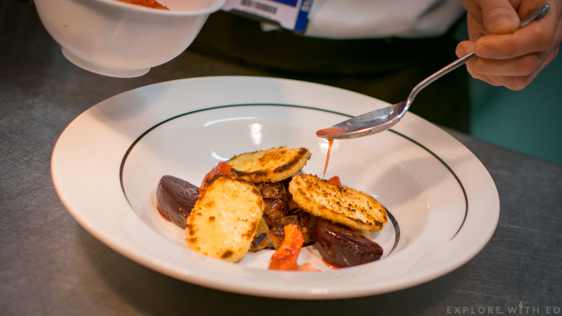 Crisp Halloumi, beetroot, blood orange, Scholar Restaurant