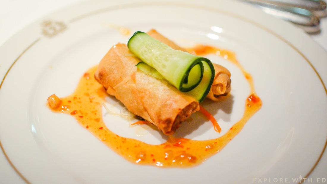 Spring rolls, sweet chilli sauce, Britannia Restaurant, Queen Elizabeth