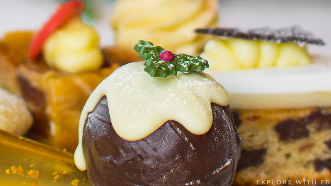 White chocolate christmas pudding truffle, handmade