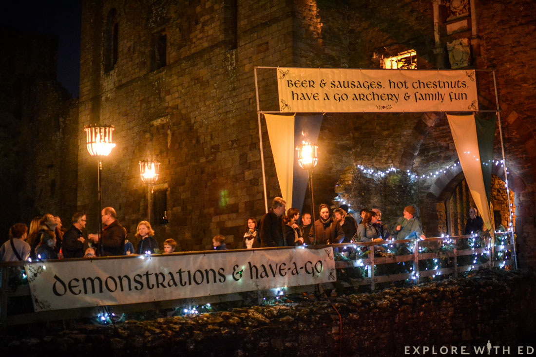 Ludlow Medieval Christmas Fayre at night