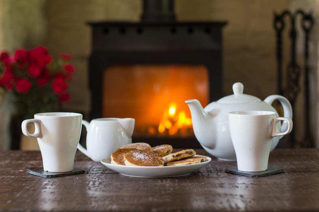 Log burner, tea by the fire, afternoon tea in Wales