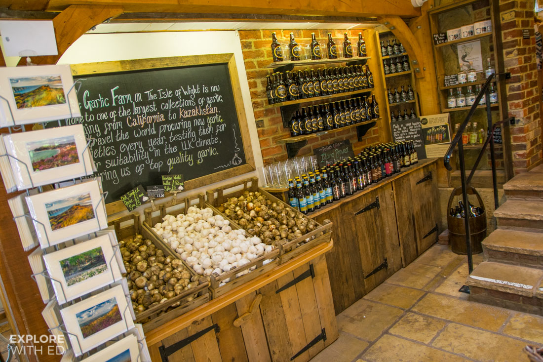 The Garlic Farm shop with Garlic Vodka and varieties of Garlic