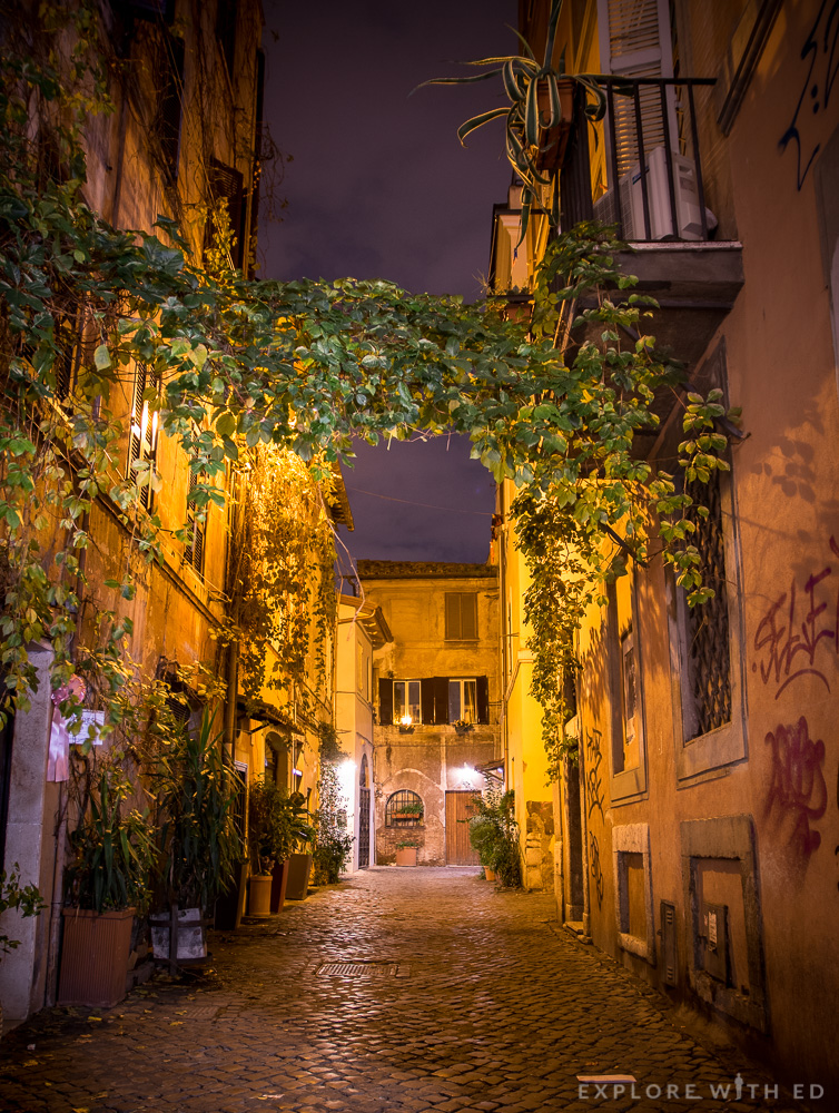 Side Street in Rome Italy, Trastevere area at night