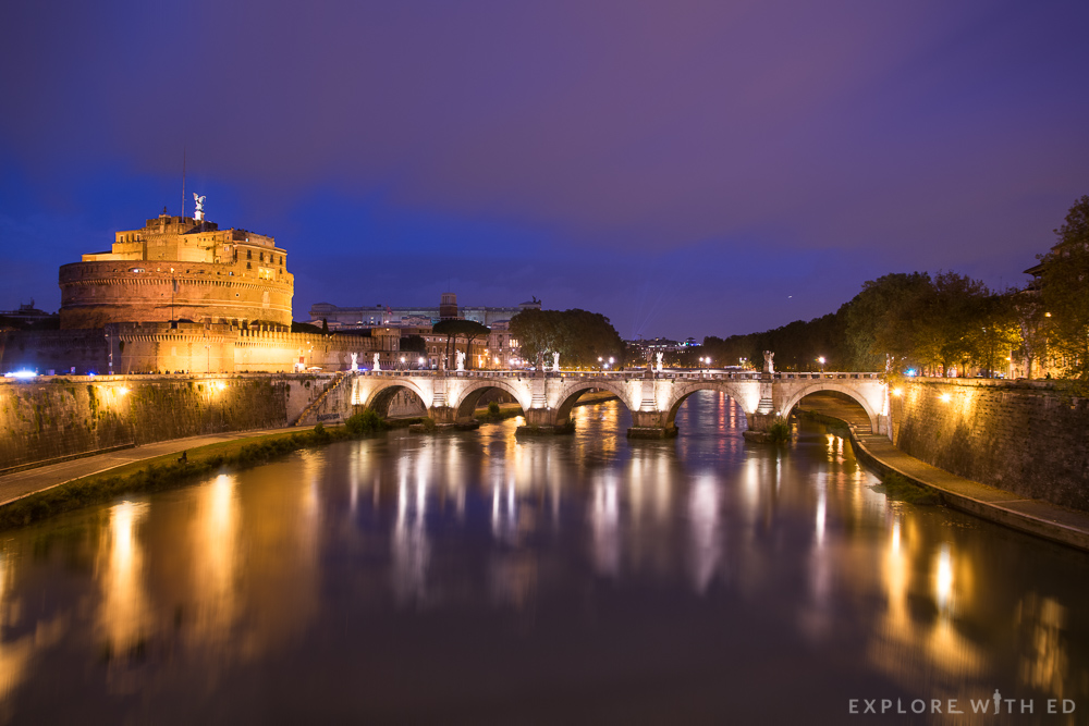 Castel Sant'Angelo from the river Tiber at night