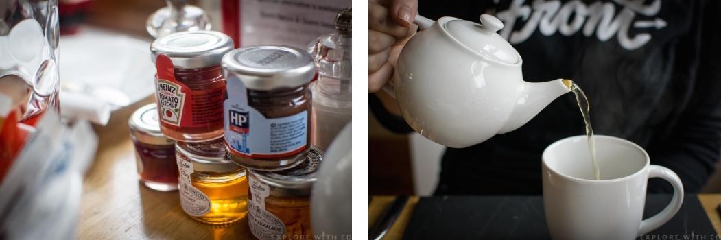 Breakfast in Swansea B&B, little condiment jars, tea pot