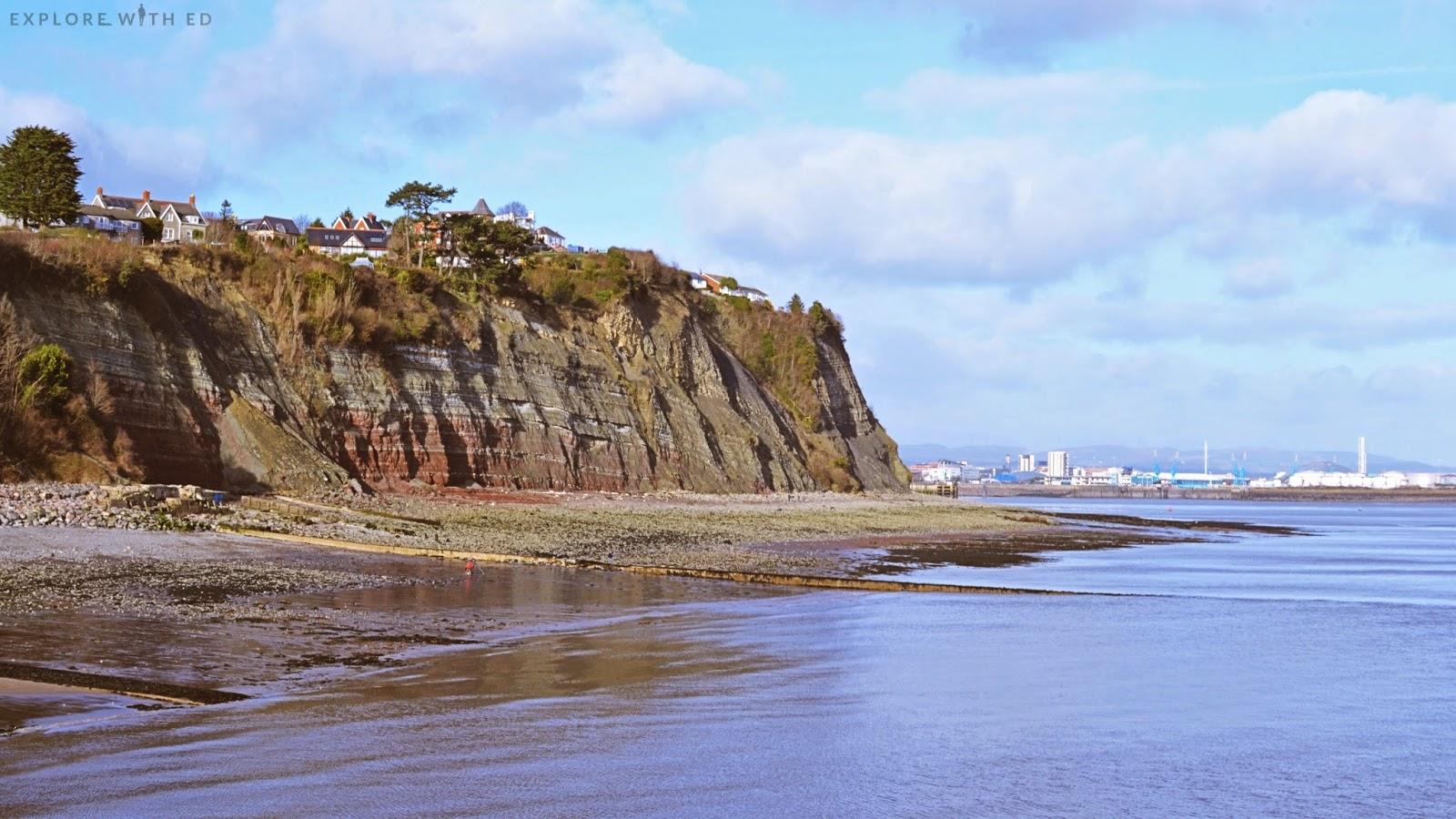 Rocky cliff and beach near Penarth
