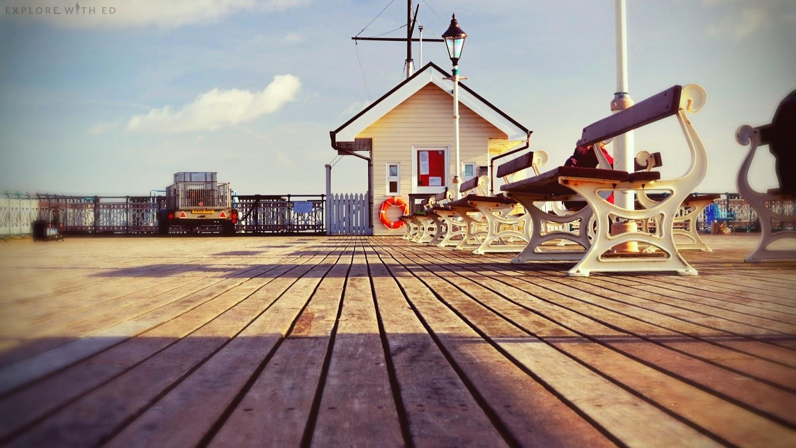 Walking along Penarth Pier