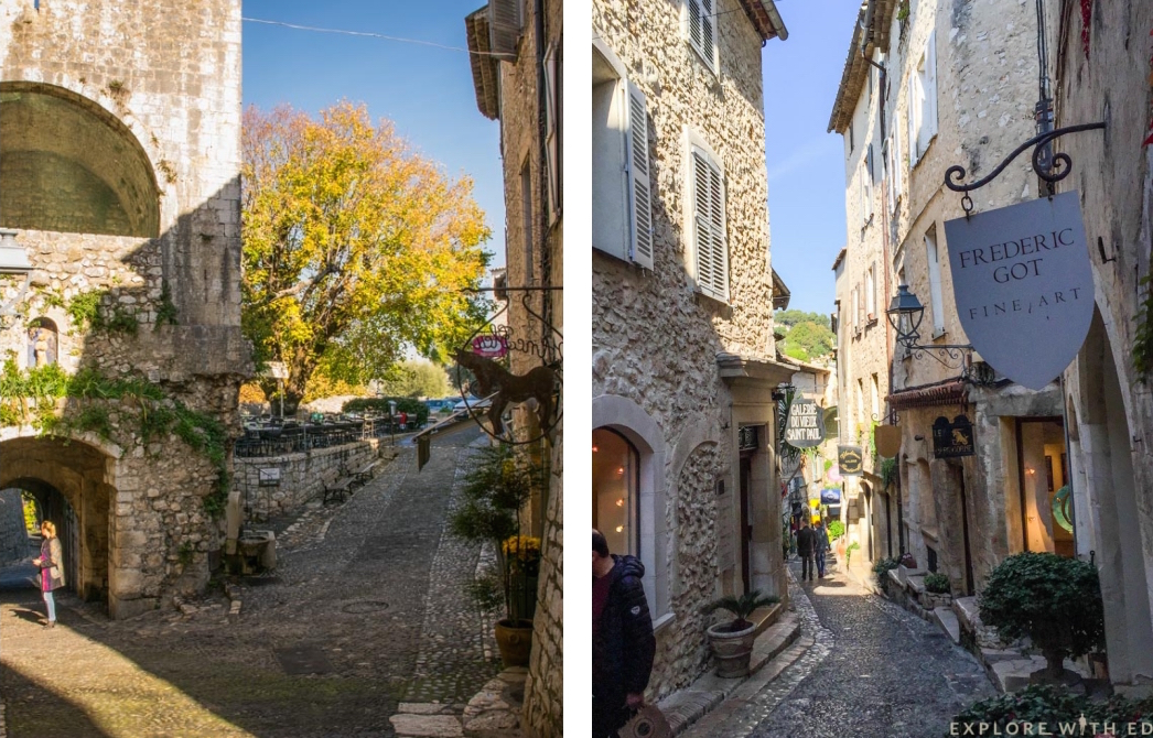 Cobbled medieval streets in Saint Paul-de-Vence