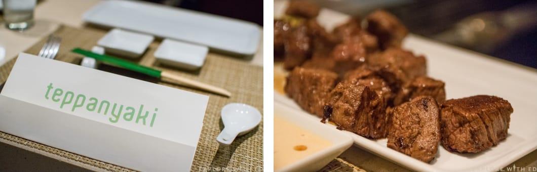 Teppanyaki menu and beef