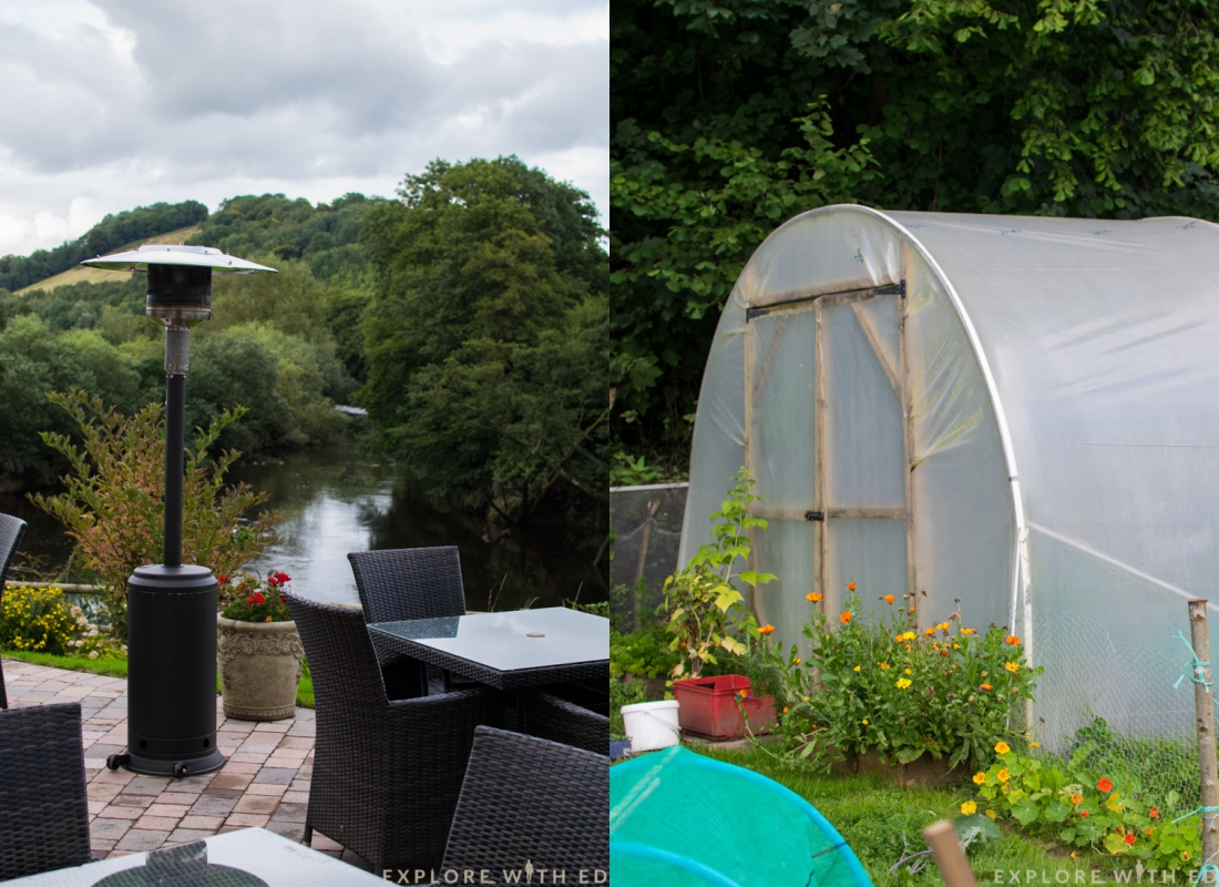 Newbridge on usk outside, seating area, kitchen garden
